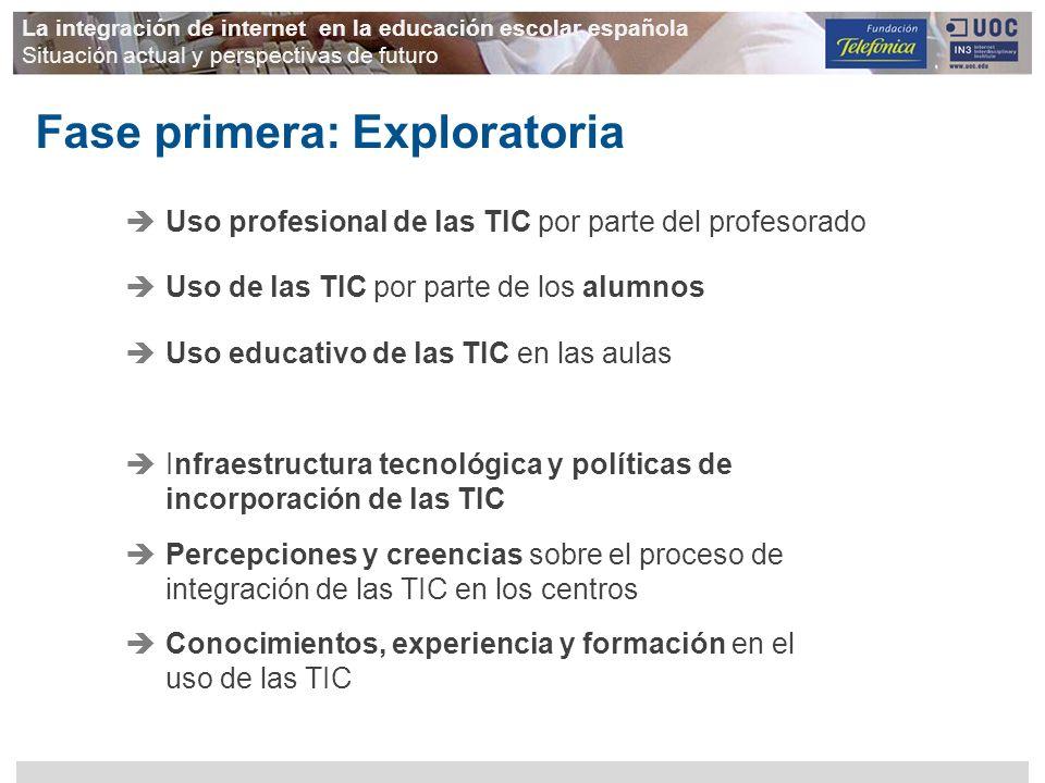 Infraestructura tecnológica y políticas de incorporación de las TIC Percepciones y creencias sobre el proceso de integración de las TIC en los centros