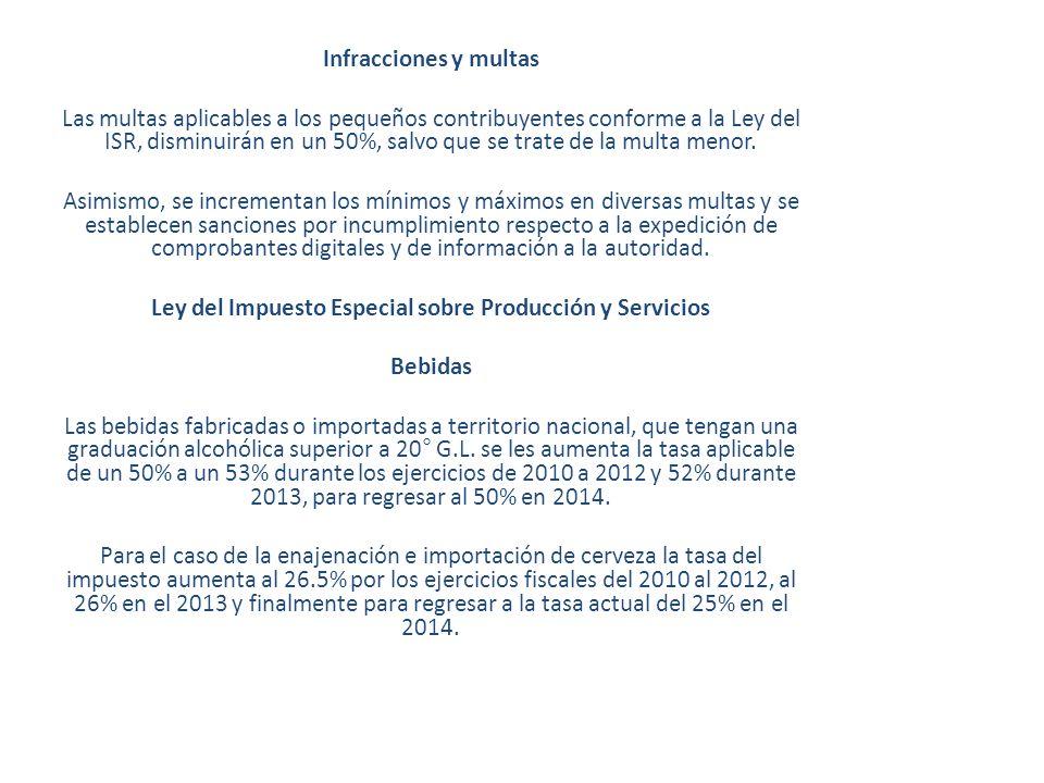 Infracciones y multas Las multas aplicables a los pequeños contribuyentes conforme a la Ley del ISR, disminuirán en un 50%, salvo que se trate de la m