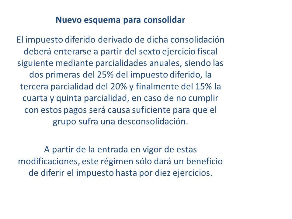 Nuevo esquema para consolidar El impuesto diferido derivado de dicha consolidación deberá enterarse a partir del sexto ejercicio fiscal siguiente medi