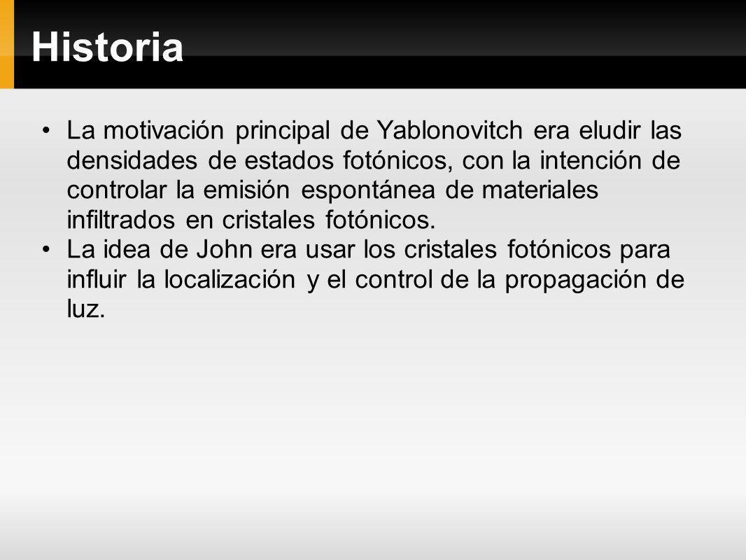 Historia La motivación principal de Yablonovitch era eludir las densidades de estados fotónicos, con la intención de controlar la emisión espontánea d