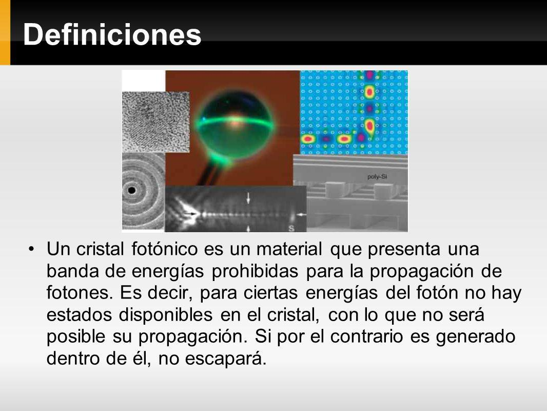 Definiciones Un cristal fotónico es un material que presenta una banda de energías prohibidas para la propagación de fotones. Es decir, para ciertas e