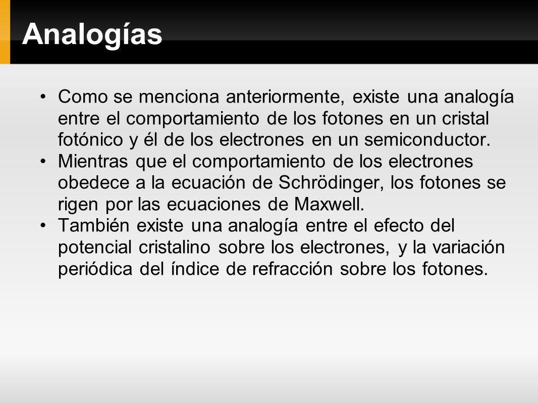 Analogías Como se menciona anteriormente, existe una analogía entre el comportamiento de los fotones en un cristal fotónico y él de los electrones en