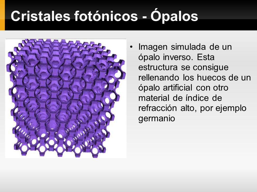 Cristales fotónicos - Ópalos Imagen simulada de un ópalo inverso. Esta estructura se consigue rellenando los huecos de un ópalo artificial con otro ma