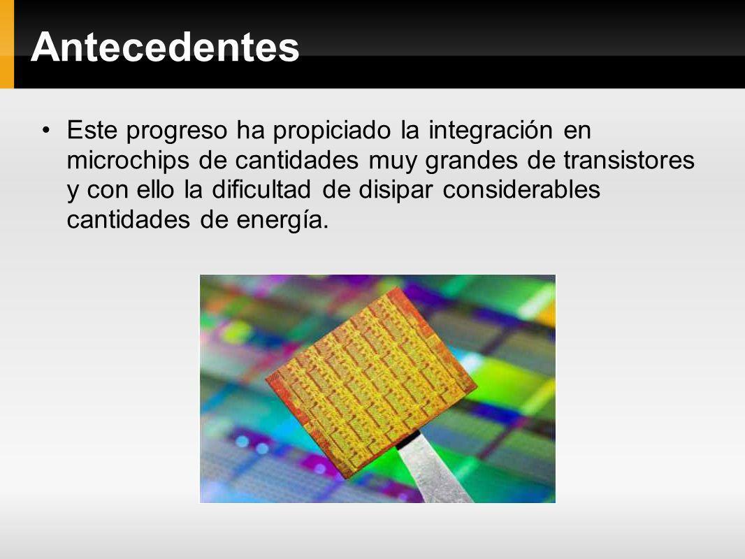 Antecedentes Este progreso ha propiciado la integración en microchips de cantidades muy grandes de transistores y con ello la dificultad de disipar co