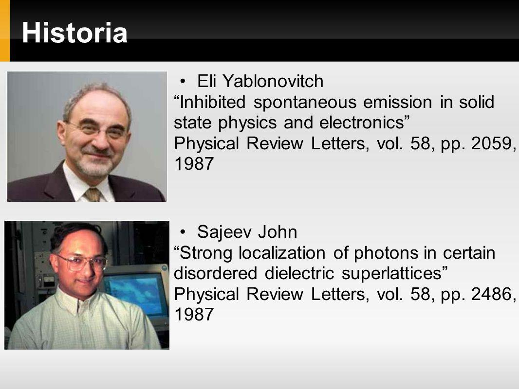 Historia Eli Yablonovitch Inhibited spontaneous emission in solid state physics and electronics Physical Review Letters, vol. 58, pp. 2059, 1987 Sajee