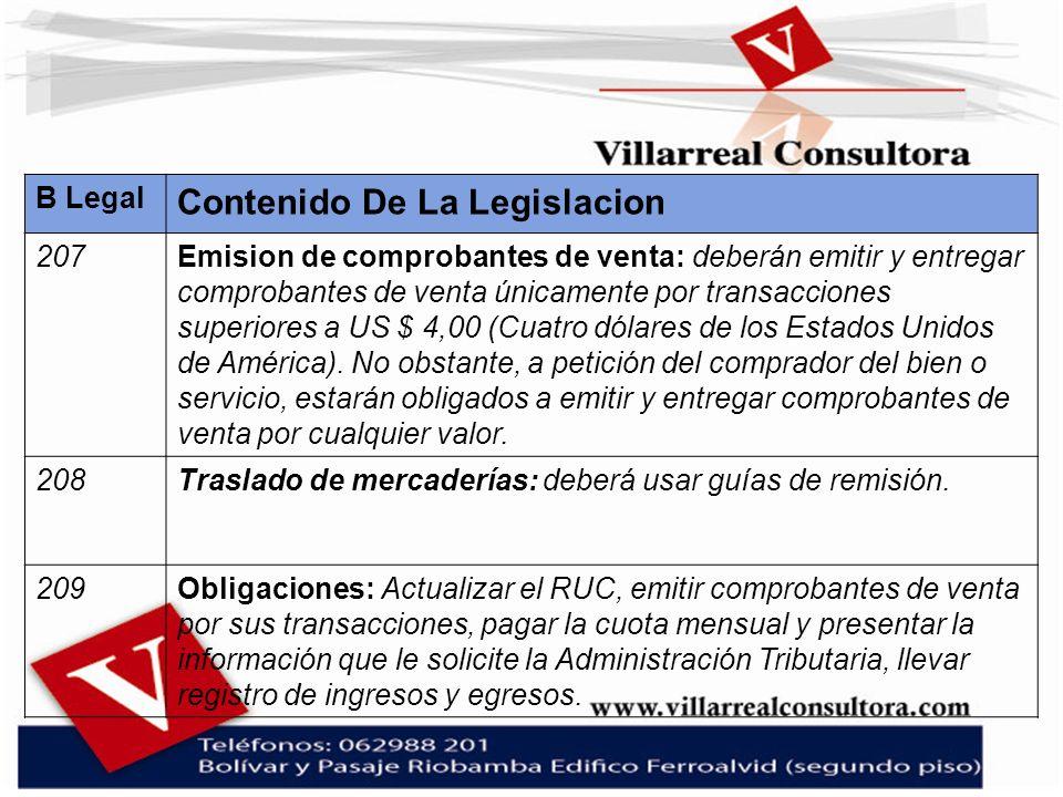 B Legal Contenido De La Legislacion 207Emision de comprobantes de venta: deberán emitir y entregar comprobantes de venta únicamente por transacciones