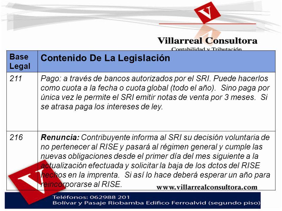 Base Legal Contenido De La Legislación 211Pago: a través de bancos autorizados por el SRI. Puede hacerlos como cuota a la fecha o cuota global (todo e