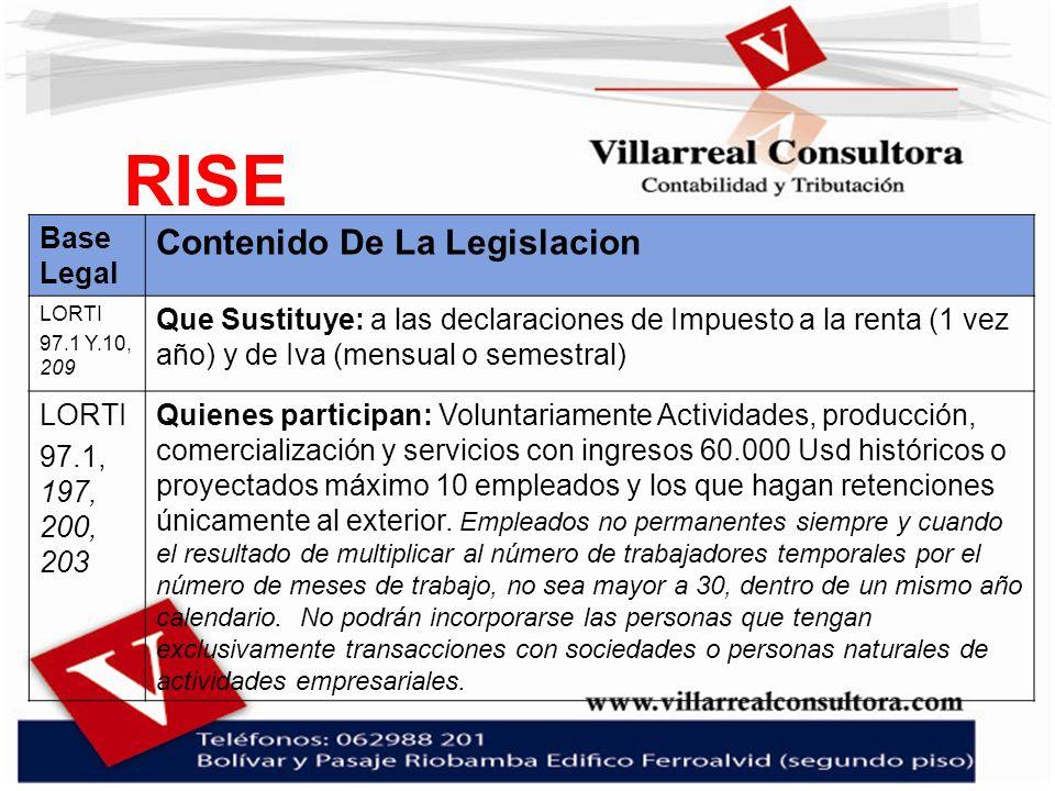 RISE Base Legal Contenido De La Legislacion LORTI 97.1 Y.10, 209 Que Sustituye: a las declaraciones de Impuesto a la renta (1 vez año) y de Iva (mensu