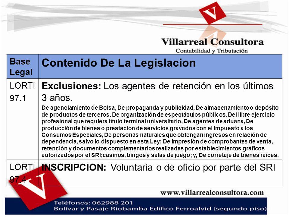 Base Legal Contenido De La Legislacion LORTI 97.1 Exclusiones: Los agentes de retención en los últimos 3 años. De agenciamiento de Bolsa, De propagand