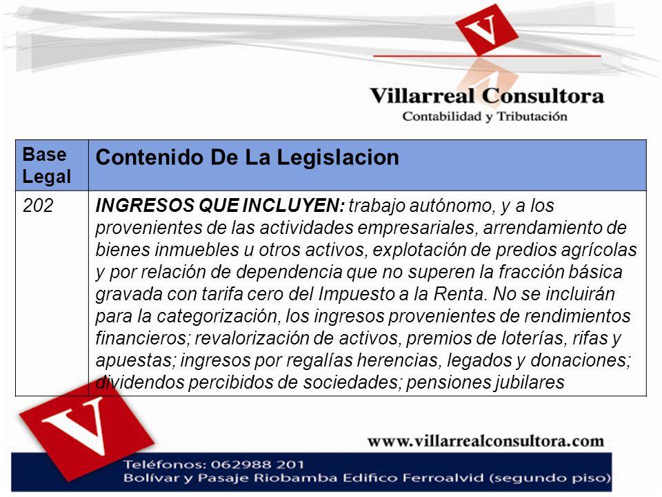 Base Legal Contenido De La Legislacion 202INGRESOS QUE INCLUYEN: trabajo autónomo, y a los provenientes de las actividades empresariales, arrendamient