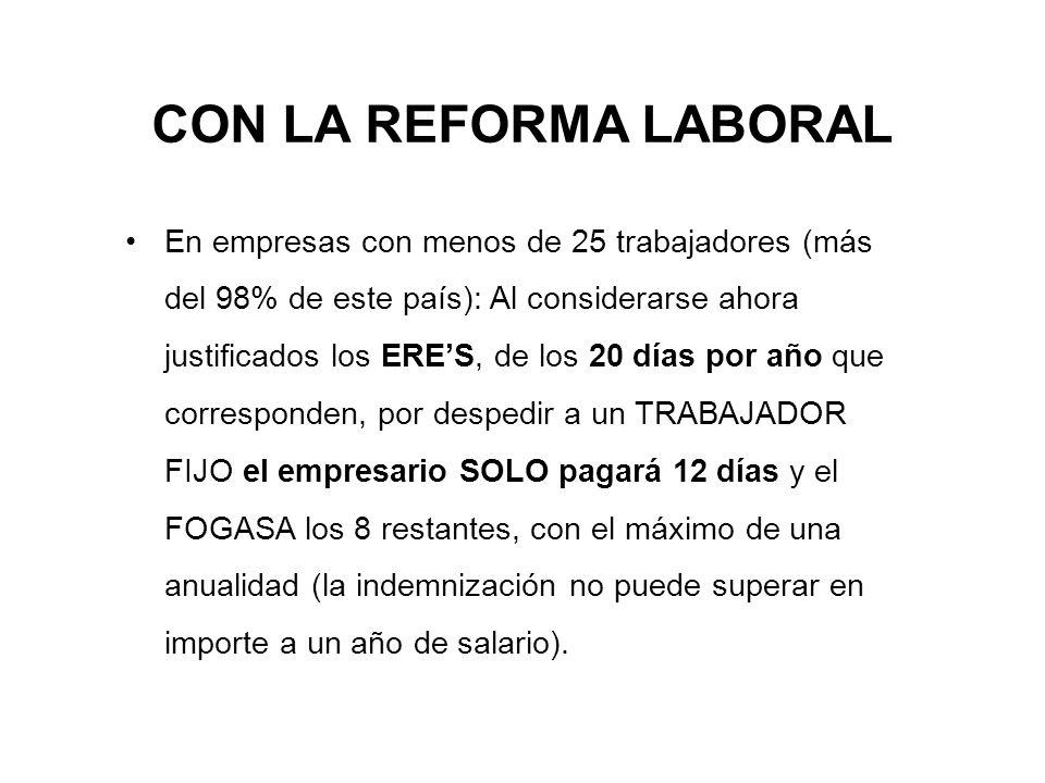 CON LA REFORMA LABORAL En empresas con menos de 25 trabajadores (más del 98% de este país): Al considerarse ahora justificados los ERES, de los 20 día