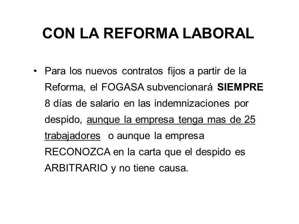 CON LA REFORMA LABORAL Para los nuevos contratos fijos a partir de la Reforma, el FOGASA subvencionará SIEMPRE 8 días de salario en las indemnizacione