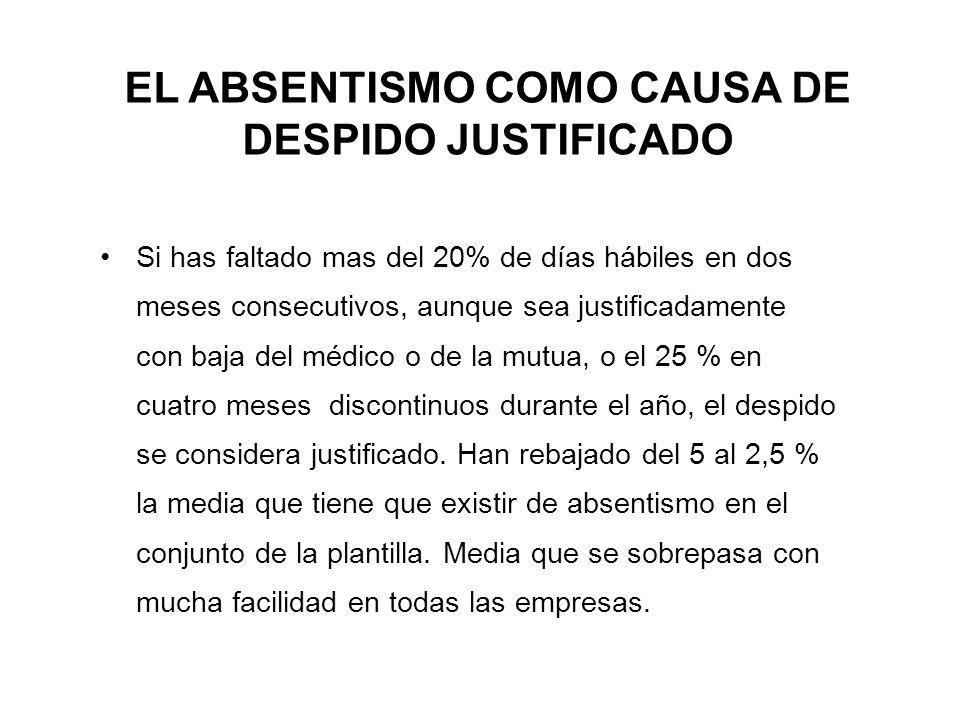 EL ABSENTISMO COMO CAUSA DE DESPIDO JUSTIFICADO Si has faltado mas del 20% de días hábiles en dos meses consecutivos, aunque sea justificadamente con