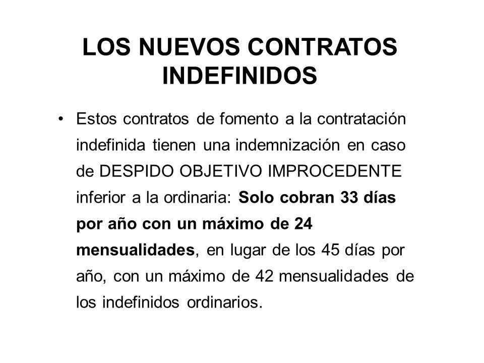 LOS NUEVOS CONTRATOS INDEFINIDOS Estos contratos de fomento a la contratación indefinida tienen una indemnización en caso de DESPIDO OBJETIVO IMPROCEDENTE inferior a la ordinaria: Solo cobran 33 días por año con un máximo de 24 mensualidades, en lugar de los 45 días por año, con un máximo de 42 mensualidades de los indefinidos ordinarios.