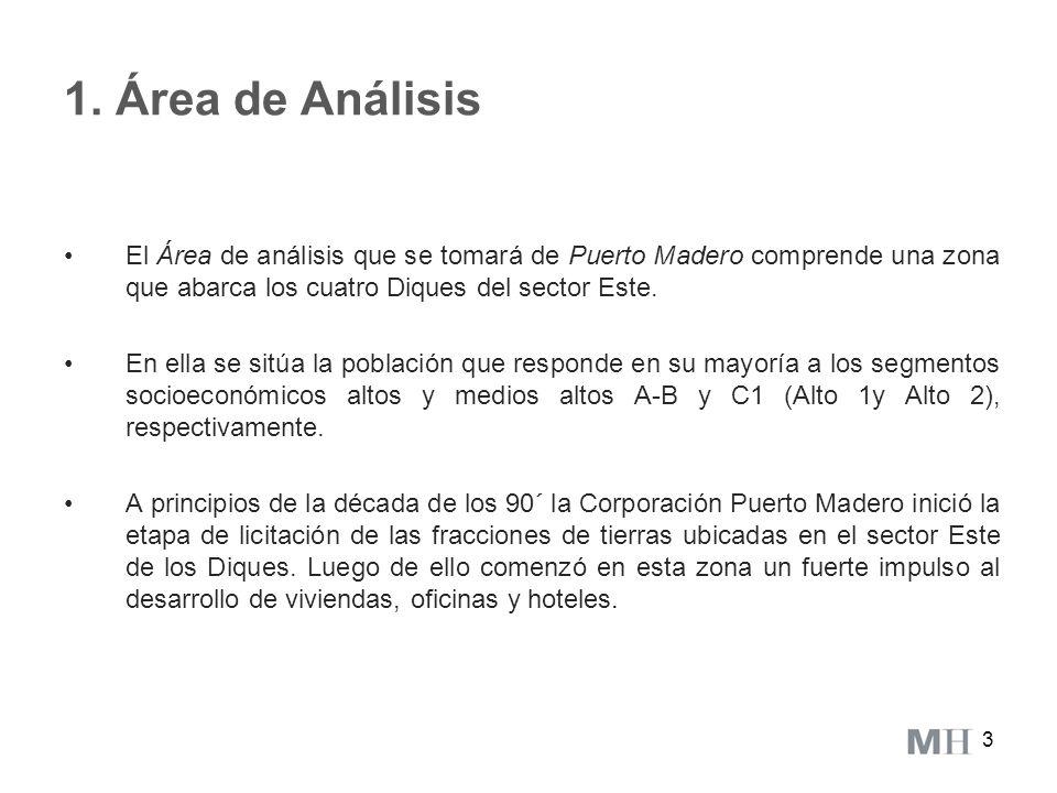 3 1. Área de Análisis El Área de análisis que se tomará de Puerto Madero comprende una zona que abarca los cuatro Diques del sector Este. En ella se s