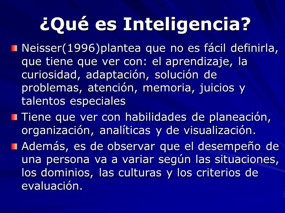 Neisser(1996)plantea que no es fácil definirla, que tiene que ver con: el aprendizaje, la curiosidad, adaptación, solución de problemas, atención, mem
