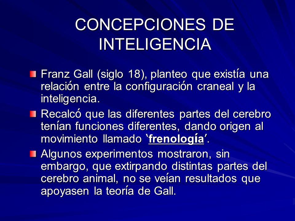 CONCEPCIONES DE INTELIGENCIA Franz Gall (siglo 18), planteo que exist í a una relaci ó n entre la configuraci ó n craneal y la inteligencia. Recalc ó