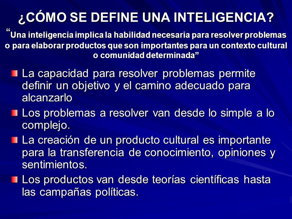 ¿CÓMO SE DEFINE UNA INTELIGENCIA? Una inteligencia implica la habilidad necesaria para resolver problemas o para elaborar productos que son importante