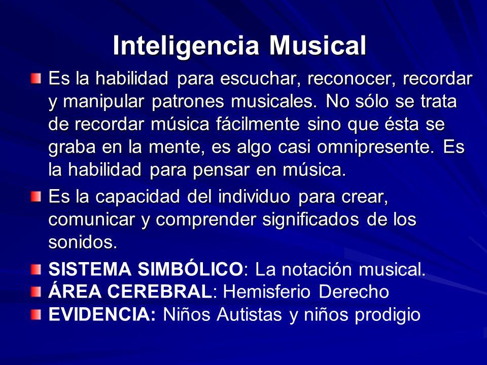 Inteligencia Musical Es la habilidad para escuchar, reconocer, recordar y manipular patrones musicales. No sólo se trata de recordar música fácilmente