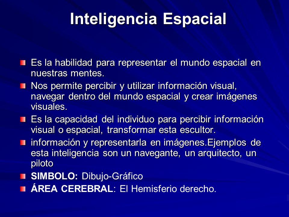 Inteligencia Espacial Es la habilidad para representar el mundo espacial en nuestras mentes. Nos permite percibir y utilizar información visual, naveg