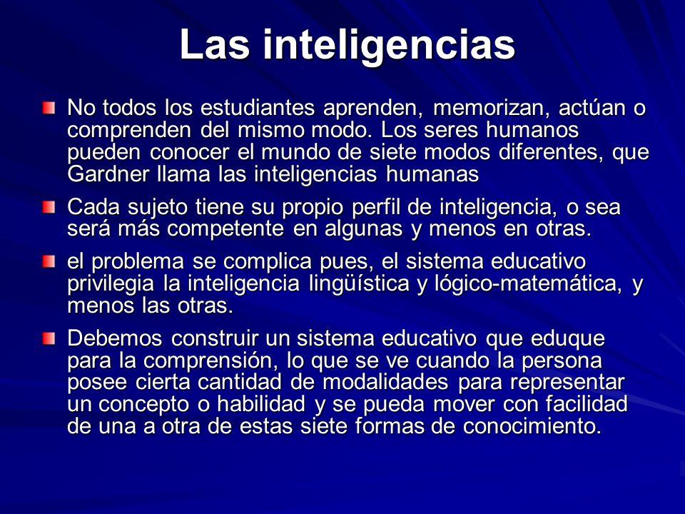 Las inteligencias No todos los estudiantes aprenden, memorizan, actúan o comprenden del mismo modo. Los seres humanos pueden conocer el mundo de siete