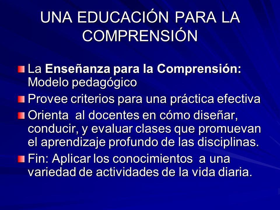 UNA EDUCACIÓN PARA LA COMPRENSIÓN La Enseñanza para la Comprensión: Modelo pedagógico Provee criterios para una práctica efectiva Orienta al docentes