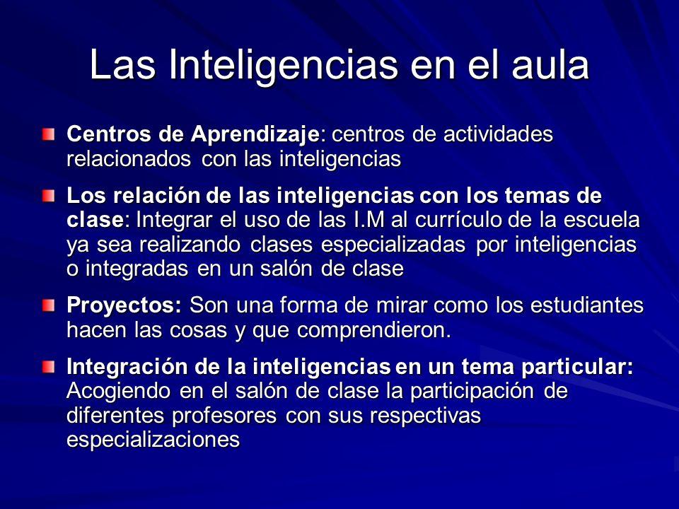 Las Inteligencias en el aula Centros de Aprendizaje: centros de actividades relacionados con las inteligencias Los relación de las inteligencias con l