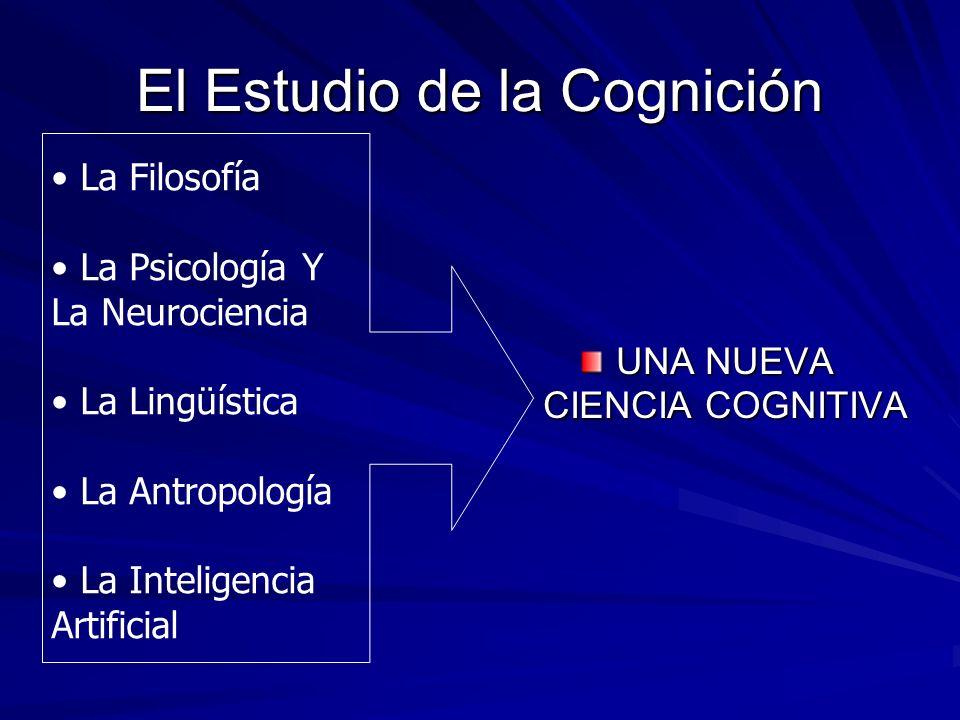 El Estudio de la Cognición UNA NUEVA CIENCIA COGNITIVA La Filosofía La Psicología Y La Neurociencia La Lingüística La Antropología La Inteligencia Art