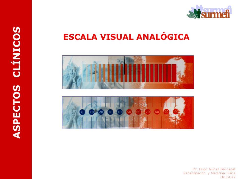 ESCALA VISUAL ANALÓGICA Dr. Hugo Nüñez Bernadet Rehabilitación y Medicina Física URUGUAY ASPECTOS CLÍNICOS