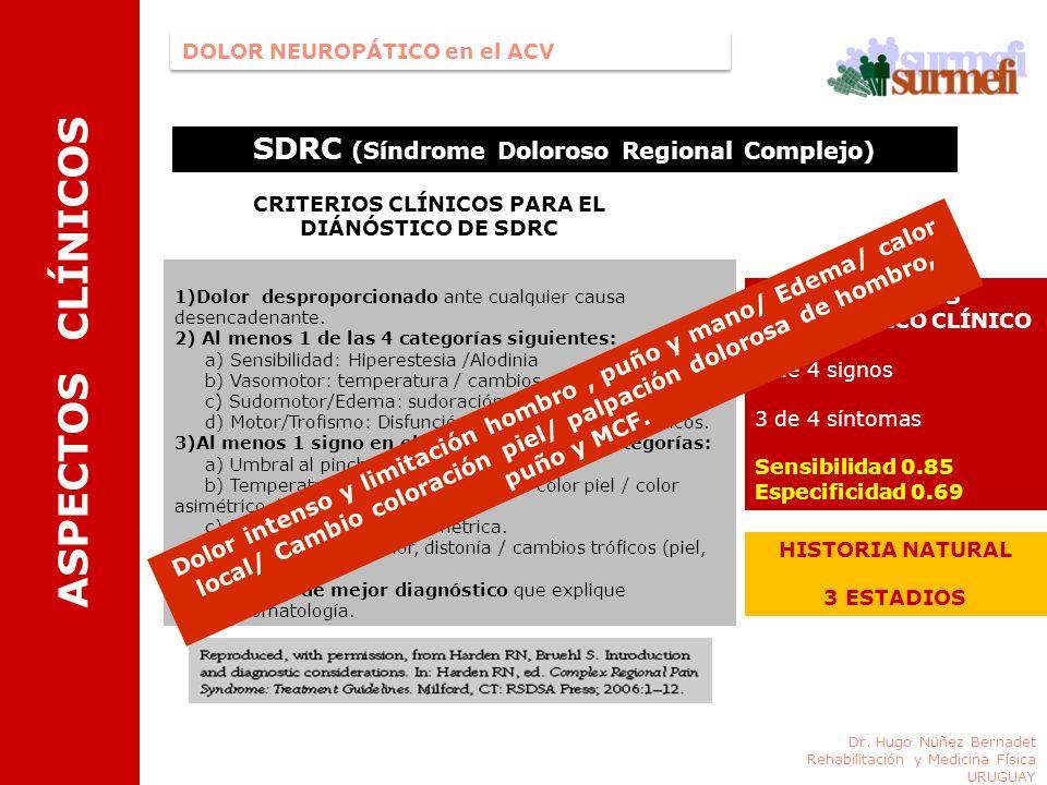 DOLOR NEUROPÁTICO en el ACV CRITERIOS DIAGNÓSTICO CLÍNICO 2 de 4 signos 3 de 4 síntomas Sensibilidad 0.85 Especificidad 0.69 ASPECTOS CLÍNICOS Dr. Hug
