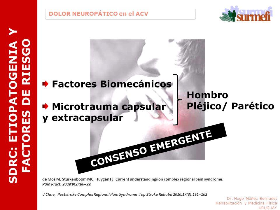 SDRC: ETIOPATOGENIA Y FACTORES DE RIESGO Dr. Hugo Nüñez Bernadet Rehabilitación y Medicina Física URUGUAY DOLOR NEUROPÁTICO en el ACV Factores Biomecá