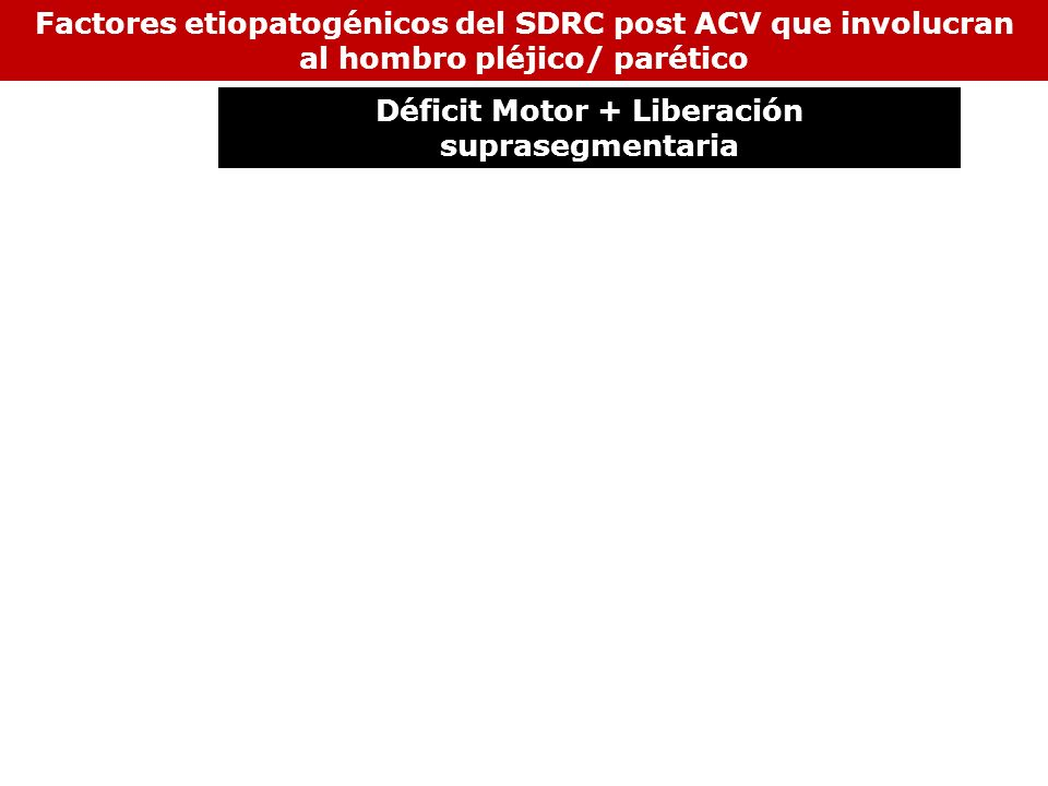 Factores etiopatogénicos del SDRC post ACV que involucran al hombro pléjico/ parético Déficit Motor + Liberación suprasegmentaria