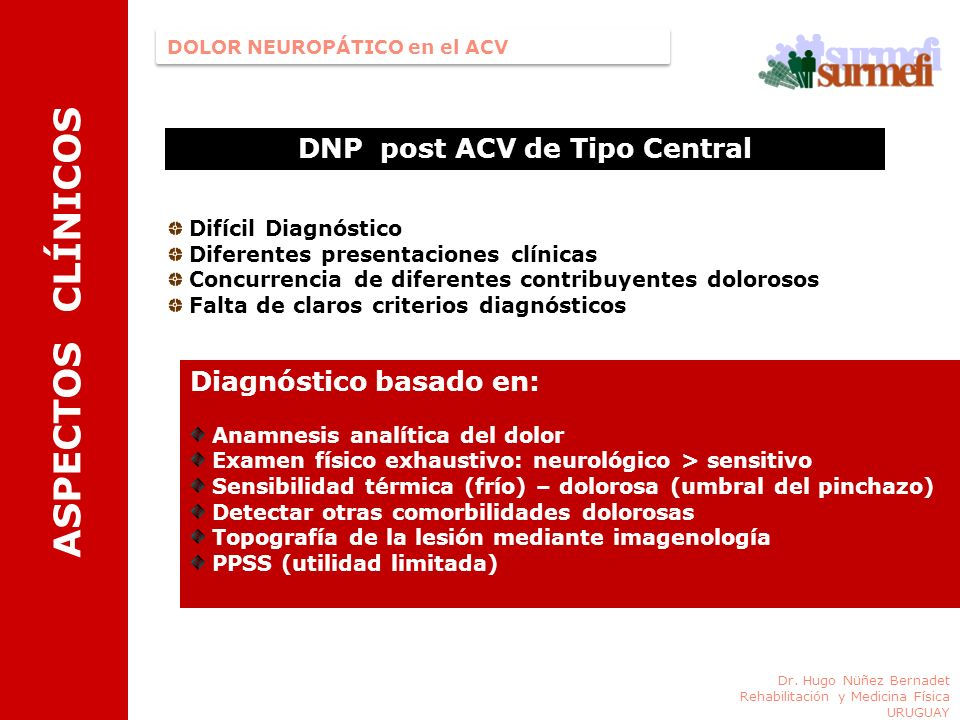 ASPECTOS CLÍNICOS DNP post ACV de Tipo Central DOLOR NEUROPÁTICO en el ACV Dr. Hugo Nüñez Bernadet Rehabilitación y Medicina Física URUGUAY Difícil Di