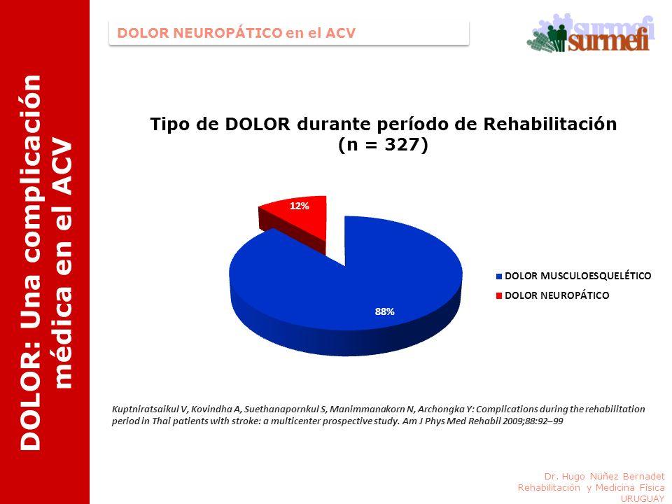 DOLOR: Una complicación médica en el ACV Tipo de DOLOR durante período de Rehabilitación (n = 327) Kuptniratsaikul V, Kovindha A, Suethanapornkul S, M