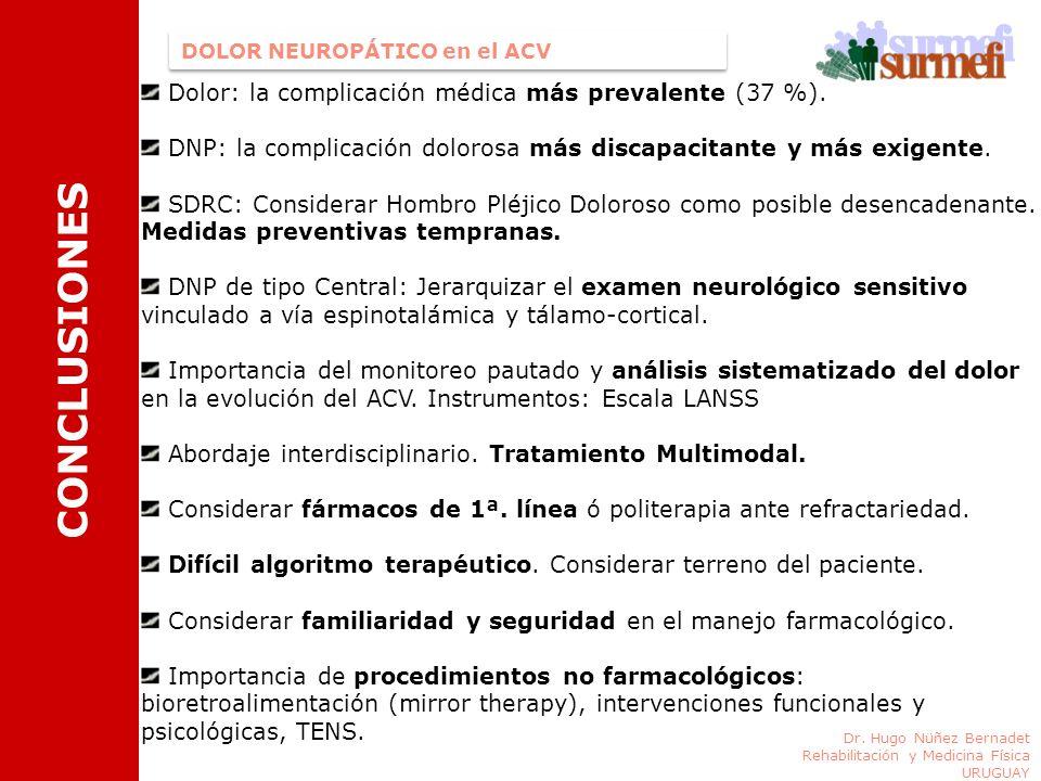 DOLOR NEUROPÁTICO en el ACV CONCLUSIONES Dolor: la complicación médica más prevalente (37 %). DNP: la complicación dolorosa más discapacitante y más e