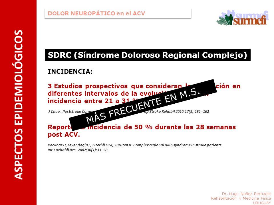 ASPECTOS EPIDEMIOLÓGICOS SDRC (Síndrome Doloroso Regional Complejo) INCIDENCIA: 3 Estudios prospectivos que consideran la evaluación en diferentes int