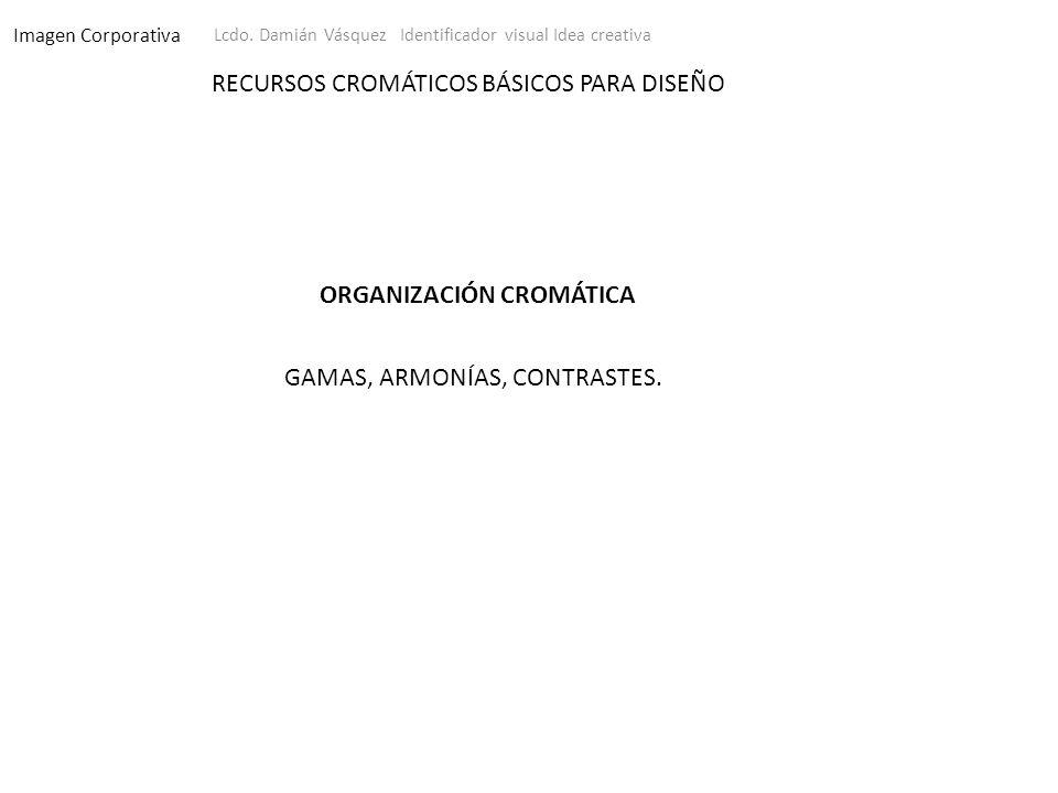 Imagen Corporativa Lcdo. Damián Vásquez Identificador visual Idea creativa RECURSOS CROMÁTICOS BÁSICOS PARA DISEÑO GAMAS, ARMONÍAS, CONTRASTES. ORGANI