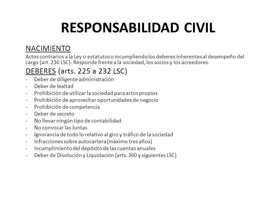 RESPONSABILIDAD CIVIL NACIMIENTO Actos contrarios a la Ley o estatutos o incumpliendo los deberes inherentes al desempeño del cargo (art. 236 LSC). Re