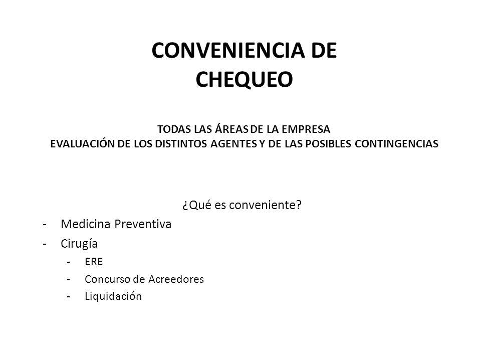 CONVENIENCIA DE CHEQUEO TODAS LAS ÁREAS DE LA EMPRESA EVALUACIÓN DE LOS DISTINTOS AGENTES Y DE LAS POSIBLES CONTINGENCIAS ¿Qué es conveniente? -Medici