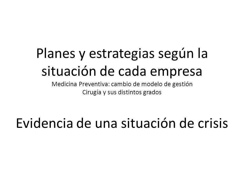 Planes y estrategias según la situación de cada empresa Medicina Preventiva: cambio de modelo de gestión Cirugía y sus distintos grados Evidencia de u