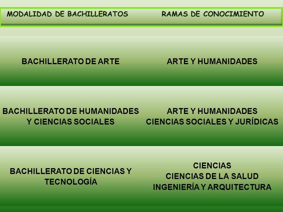 BACHILLERATO DE ARTEARTE Y HUMANIDADES BACHILLERATO DE HUMANIDADES Y CIENCIAS SOCIALES ARTE Y HUMANIDADES CIENCIAS SOCIALES Y JURÍDICAS BACHILLERATO D