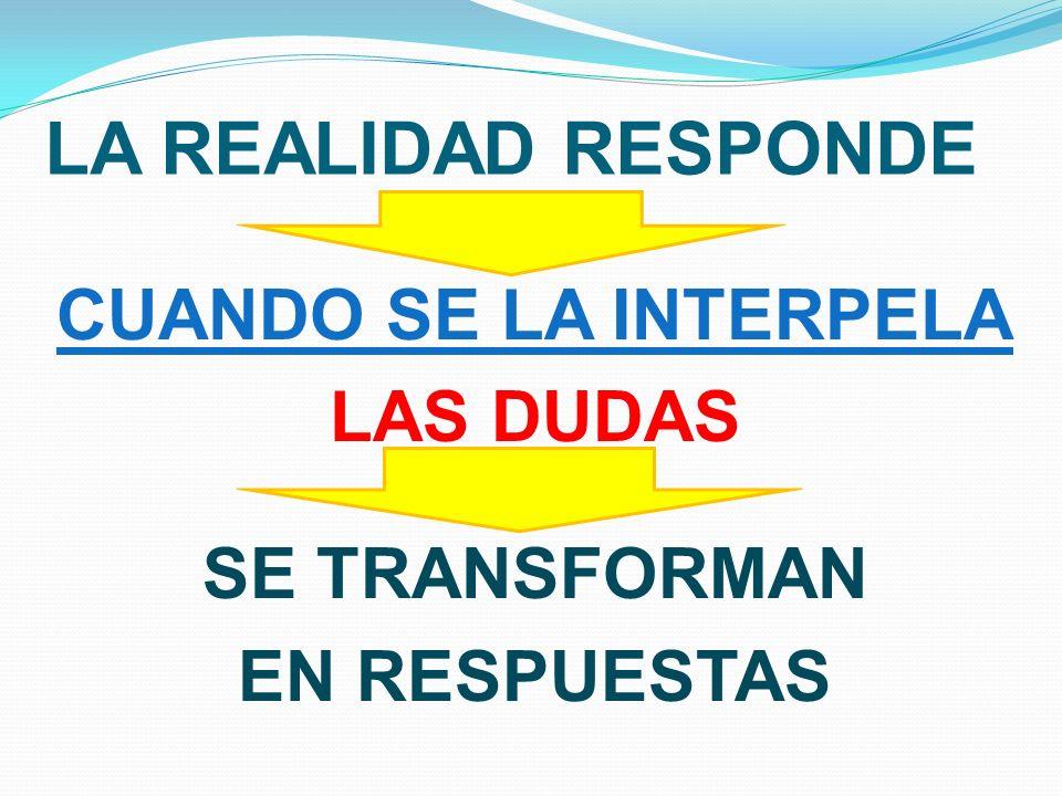 LA REALIDAD RESPONDE CUANDO SE LA INTERPELA LAS DUDAS SE TRANSFORMAN EN RESPUESTAS