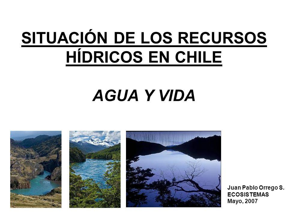 SITUACIÓN DE LOS RECURSOS HÍDRICOS EN CHILE AGUA Y VIDA Juan Pablo Orrego S. ECOSISTEMAS Mayo, 2007