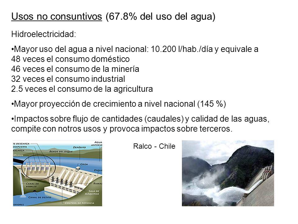 Usos no consuntivos (67.8% del uso del agua) Hidroelectricidad: Mayor uso del agua a nivel nacional: 10.200 l/hab./día y equivale a 48 veces el consum