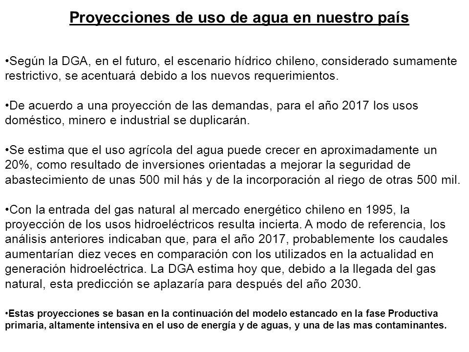 Proyecciones de uso de agua en nuestro país Según la DGA, en el futuro, el escenario hídrico chileno, considerado sumamente restrictivo, se acentuará