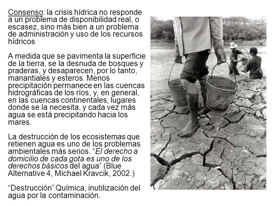 Situación de agua en Chile: Chile es rico en recursos hídricos: 1.226.000 m3 x km2 (media Nac.)* Escasez de aguas superficiales, norte y centro.(500 a1.000 m3/h/año)* Agotamiento y contaminación de aguas subterráneas (de II a V Región).* En últimas décadas, se ha producido una fuerte privatización del Agua ( derechos gratuitos y a perpetuidad.).