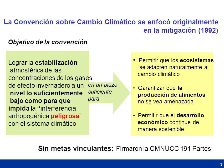 2 La Convención sobre Cambio Climático se enfocó originalmente en la mitigación (1992) Objetivo de la convención Lograr la estabilización atmosférica de las concentraciones de los gases de efecto invernadero a un nivel lo suficientemente bajo como para que impida la interferencia antropogénica peligrosa con el sistema climático Permitir que los ecosistemas se adapten naturalmente al cambio climático Garantizar que la producción de alimentos no se vea amenazada Permitir que el desarrollo económico continúe de manera sostenible en un plazo suficiente para Sin metas vinculantes: Firmaron la CMNUCC 191 Partes