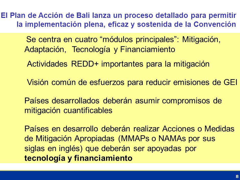 8 El Plan de Acción de Bali lanza un proceso detallado para permitir la implementación plena, eficaz y sostenida de la Convención Se centra en cuatro módulos principales: Mitigación, Adaptación, Tecnología y Financiamiento Actividades REDD+ importantes para la mitigación Visión común de esfuerzos para reducir emisiones de GEI Países desarrollados deberán asumir compromisos de mitigación cuantificables Países en desarrollo deberán realizar Acciones o Medidas de Mitigación Apropiadas (MMAPs o NAMAs por sus siglas en inglés) que deberán ser apoyadas por tecnología y financiamiento