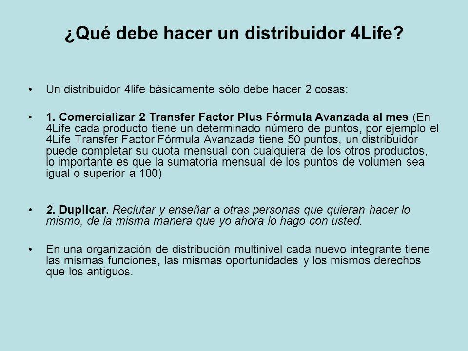 ¿Qué debe hacer un distribuidor 4Life? Un distribuidor 4life básicamente sólo debe hacer 2 cosas: 1. Comercializar 2 Transfer Factor Plus Fórmula Avan