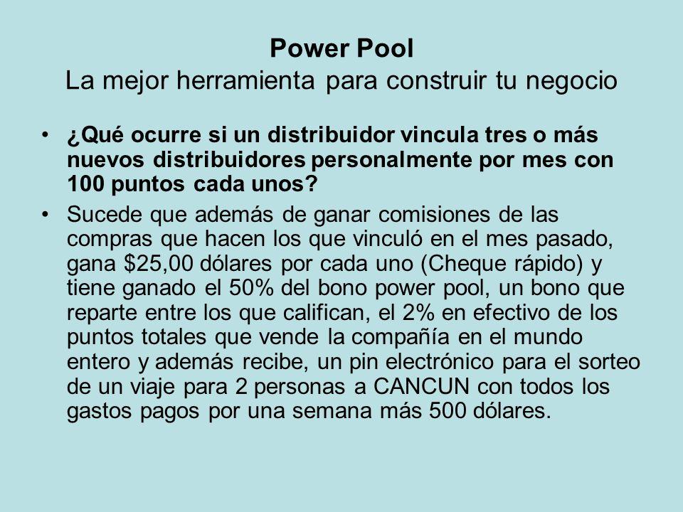 Power Pool La mejor herramienta para construir tu negocio ¿Qué ocurre si un distribuidor vincula tres o más nuevos distribuidores personalmente por me